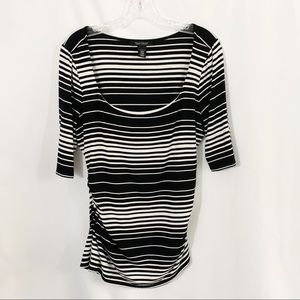 White House Black Market Striped Half Sleeve Top